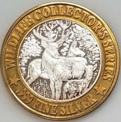 Dubuque Greyhound Park And Casino Limited Ed. 10 Silver Gaming Token Buck Deer