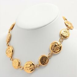 Authentic Mademoiselle Necklace Gp Gold Ladies Good
