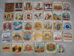 Collection Of 34 Original Old Antique Cigar Box Labels - All Different - Outer