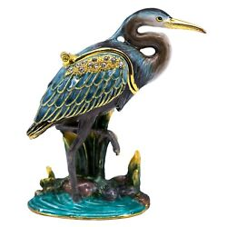 Bejeweled Enameled Pewter Blue Heron Trinket Box With Crystals 3.25 High New