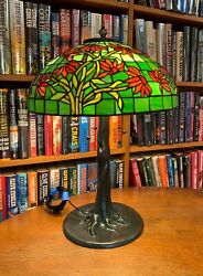 Antique Reproduction Black-eyed Susan Leaded Glass Lamp Bronze Tree Base