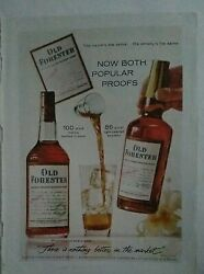 1960 Old Forester Kentucky Straight Bourbon Whiskey Bottle Cocktails Glass Ad