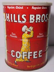 Old Vintage 1963 Hills Brothers Coffee Graphic 2 Pound Tin Tall San Francisco Ca