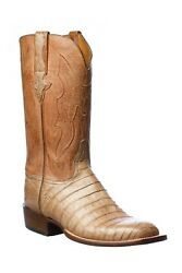 Brand New Lucchese Mens Tan Caiman Crocodile Belly Boots 11 D 2200 Made In Usa