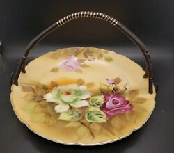 Lefton China Hand Painted Rose Pattern Fruit/candy Dish With Handle 9 Rare