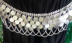 Belly Dance India Coin Silver Metal Belt Scarf Chain Costume Jewelry Gypsy Boho