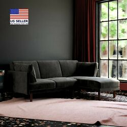 Clair Coil Sectional Futon Convertible Sofa Bed And Couch With Pillow Black