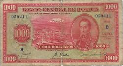 1928 1000 Bolivianos Bolivia Currency Banknote Note Money Bank Bill Cash Rare