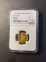 Netherlands Holland Gold Ducat 1775 Uncirculated Ngc Ms62