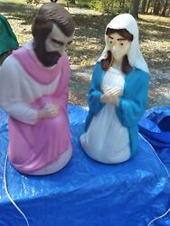 Vintage Empire Blow Mold Outdoor Christmas Lighted Nativity Joseph And Mary Decor