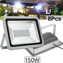 8x 150w Led Flood Light Cool White Camping Outdoor Lighting Security Wall Lamp