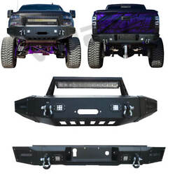 Front And Rear Bumper Fits 2015-2019 Chevy Silverado 2500 / 3500 With Winch Seat