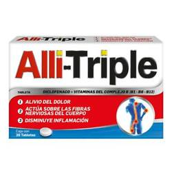 Alli-triple - Pain Relief And Vitamins - 20 Tabletas   Fast Shipping