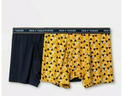 Pair Of Thieves Menand039s Super Fit Boxer Briefs 2pk- Navy/gold Size Small