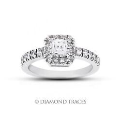 1.14ct H-vs2 Radiant Natural Certified Diamonds 14k Gold Halo Engagement Ring