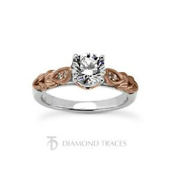 1/2ct I Si3 Round Natural Certified Diamonds 18k Gold Vintage Style Accent Ring