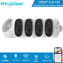 4x Hd 1080p Wireless Wifi Ip Security Camera System Outdoor Battery Powered