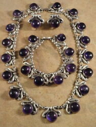 Stunning Vintage Mexican Sterling Silver And Amethyst Necklace Bracelet And Earrings