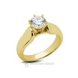 2ct H Si2 Round Earth Mined Certified Diamond 18k Gold Solitaire Engagement Ring