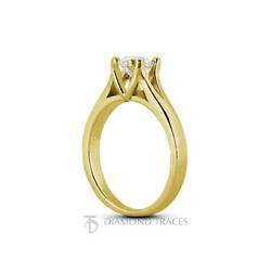1 1/4ct E Si3 Round Natural Certified Diamond 18k Gold Solitaire Engagement Ring