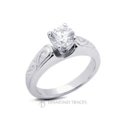 1/3ct F Si1 Round Natural Diamond 18k Vintage Style Solitaire Engagement Ring