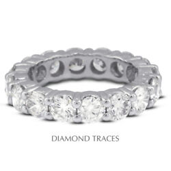 1 1/2ct F Si1 Round Natural Certified Diamonds 950 Plat. Classic Eternity Ring