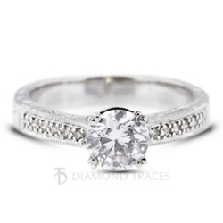 1 1/4ct H Si2 Round Natural Diamonds 14k Vintage Style Side Stone Ring