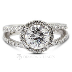 1.47 Ct E-vs2 Round Cut Natural Certified Diamonds 18k Gold Halo Engagement Ring