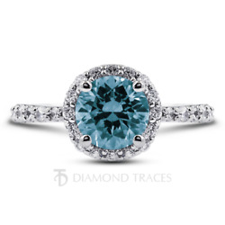1.45 Ctw Blue Vs2 Round Cut Natural Certified Diamonds 18k Gold Halo Accent Ring