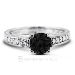 3.35ct Black Round Natural Certified Diamonds Plat Vintage Style Side Stone Ring