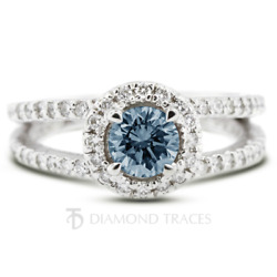 1.38 Ctw Blue Si2 Round Cut Earth Mined Certified Diamonds Plat Halo Accent Ring