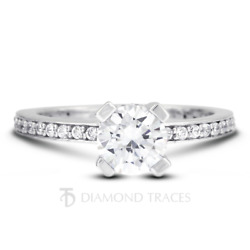 0.96ct H-vs2 Round Natural Certified Diamonds 950 Plat. Classic Side Stone Ring