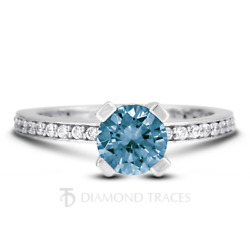 1.33ct Blue Si3 Round Earth Mined Certified Diamonds Plat Classic Accent Ring