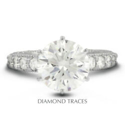2.14 Ct F-vs2 Round Cut Earth Mined Certified Diamonds 950 Plat. Side Stone Ring