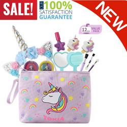 12 Pieces REAL Kids Makeup Kit With Cosmetic Bag For Girls Unicorn Washable safe $39.36