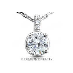 1.16 Ctw F-si2 Round Cut Earth Mined Certified Diamonds 18k Gold Classic Pendant