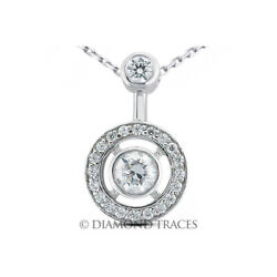 1 1/2 Ctw I Si3 Round Cut Earth Mined Certified Diamonds 14k Gold Halo Pendant