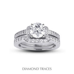 1.09ct H-si1 Round Natural Certified Diamonds 18k Halo Ring With Wedding Band