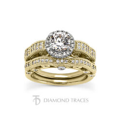 1.30ct H-si1 Round Natural Certified Diamonds 14k Halo Ring With Wedding Band