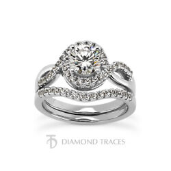 1ct H Si1 Round Natural Certified Diamonds 14k Gold Halo Ring With Wedding Band