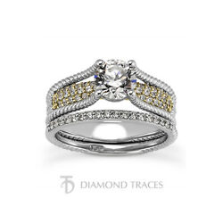1.10ct H-vs2 Round Earth Mined Certified Diamonds 18k Ring With Wedding Band