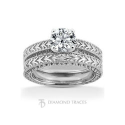 1/2ct I Vs2 Round Natural Diamond 18k Vintage Style Ring With Wedding Band
