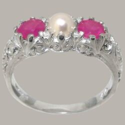 18ct White Gold Full Pearl And Ruby Womens Trilogy Ring - Sizes J To Z