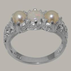 18ct White Gold Natural Opal And Full Pearl Womens Trilogy Ring - Sizes J To Z