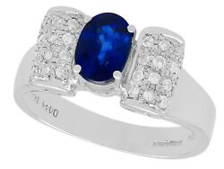 Vintage 1.69ct Sapphire And 0.50ct Diamond 18k White Gold Dress Ring - Size 8