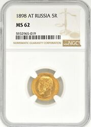 1898 At Russia 5 Ruble Gold Coin Ngc Ms 62 Y 62 Tzar Nicholas Ii High Grade