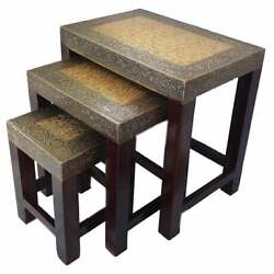 Handmade Indian Wooden Nesting Table 3pc Set Home Room Decor Coffee Table Square
