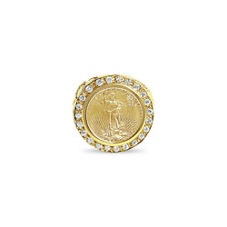 Lady Liberty Diamond Coin Ring With Nugget Band 22k 1/10oz Us 5 14k Yellow Gold