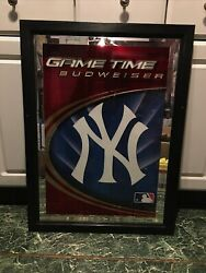 Yankees Budweiser Game Time Ny Framed Glass Mirror. 22 X 30