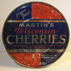 Large Old 1930s Martin Cherries Graphic Tin 15 Pound Can Sturgeon Bay Wisconsin